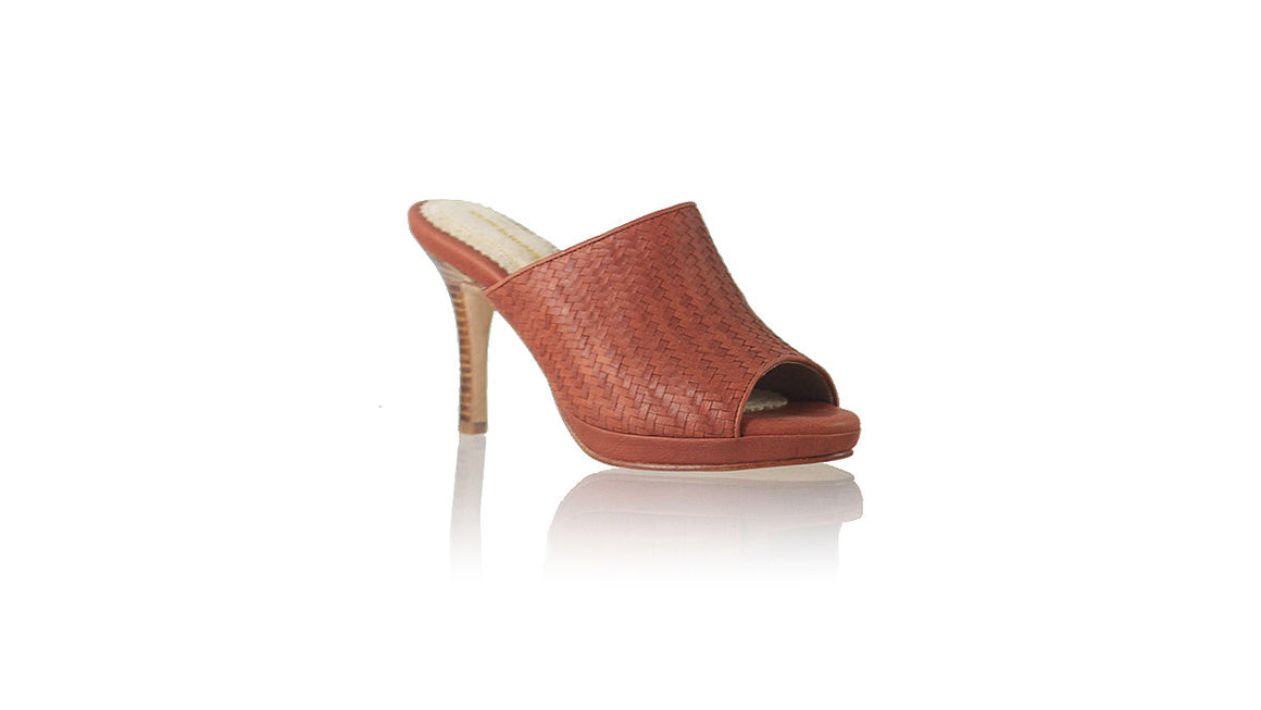 leather shoes Lina PF Woven Enrique without Strap 90mm SH - Burnt Orange, sandals higheel , NILUH DJELANTIK - 1