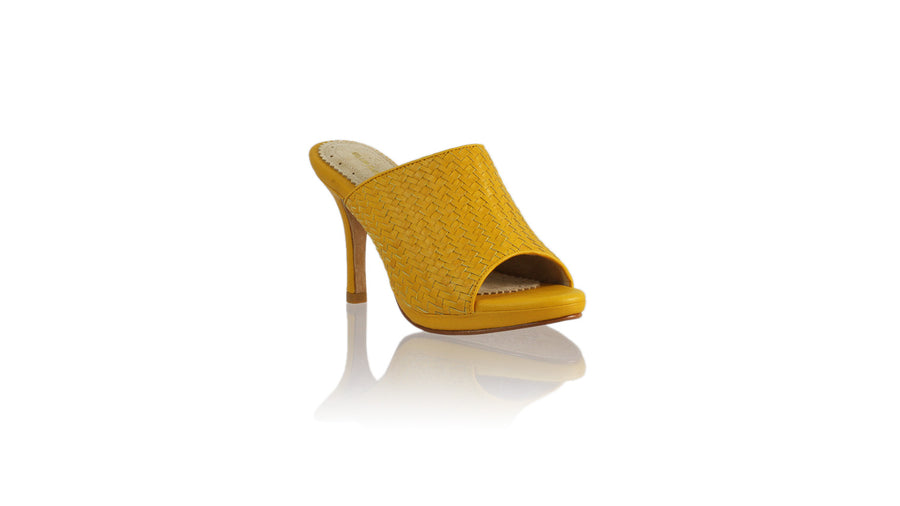 Leather-shoes-Lina Woven without Strap 90mm SH-01 PF - Yellow-sandals higheel-NILUH DJELANTIK-NILUH DJELANTIK
