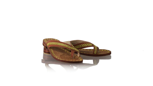 Leather-shoes-Louis 20mm Flat - Burnt Orange & Lime-sandals flat-NILUH DJELANTIK-NILUH DJELANTIK