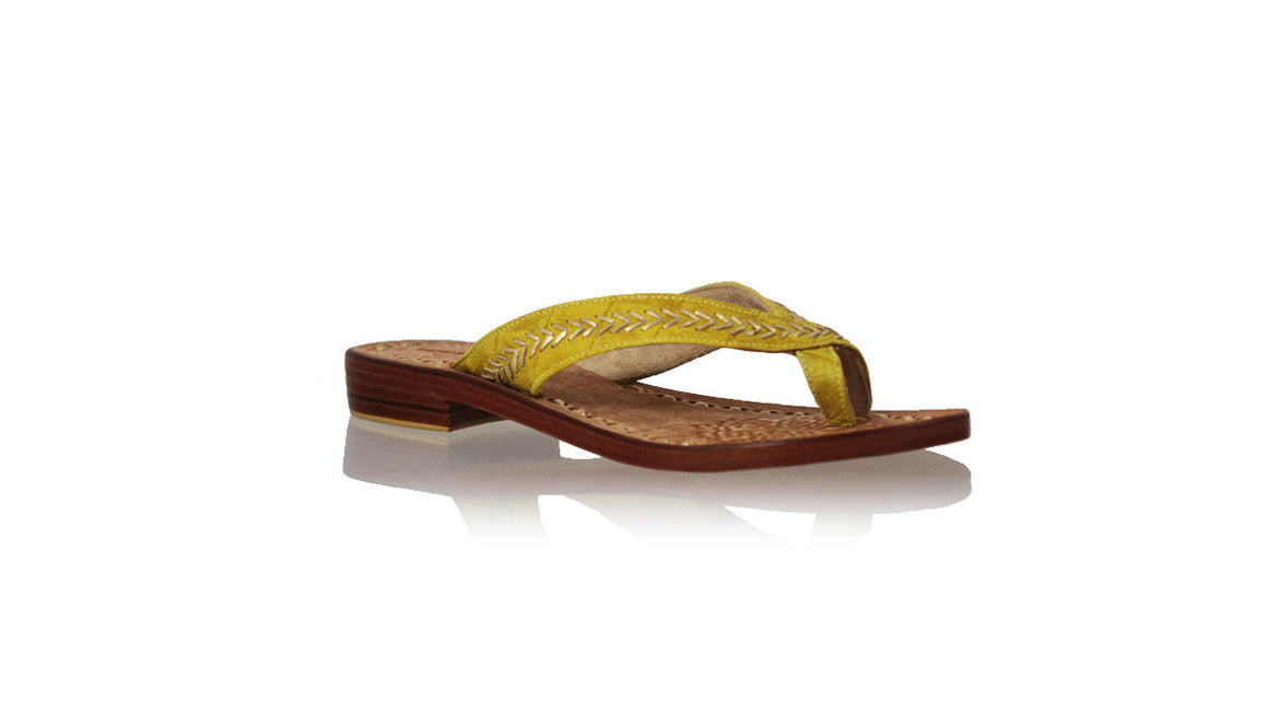 leather shoes Louis 20mm Flats - Yellow Croco & Gold, sandals flat , NILUH DJELANTIK - 1