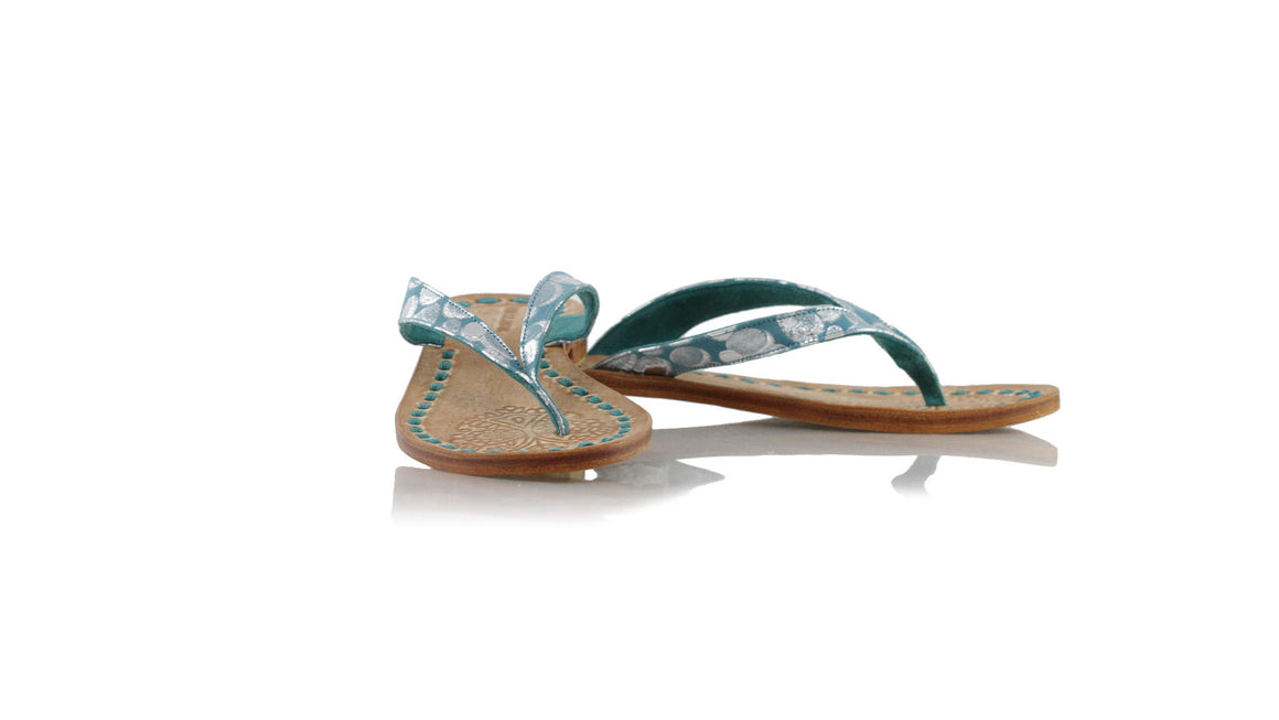leather shoes Luca 20mm Flats - Emerald Polkadot, sandals flat , NILUH DJELANTIK - 1