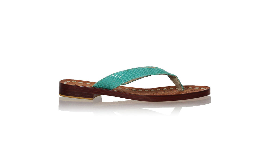 leather shoes Luca 20mm Flats - Aqua Snake Print, sandals flat , NILUH DJELANTIK - 1