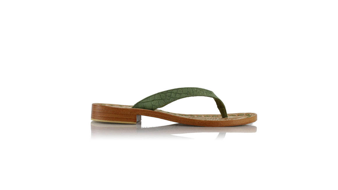 leather shoes Luca 20mm Flats - Green Croco Embossed, sandals flat , NILUH DJELANTIK - 3