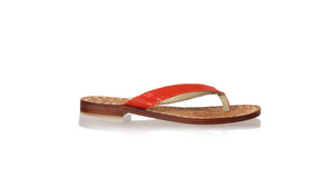 leather shoes Luca 20mm Flats - Orange Snake Print, sandals flat , NILUH DJELANTIK - 1
