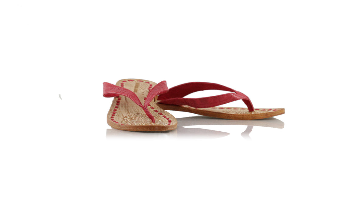 leather shoes Luca 20mm Flats - Red Croco Embossed, sandals flat , NILUH DJELANTIK - 1