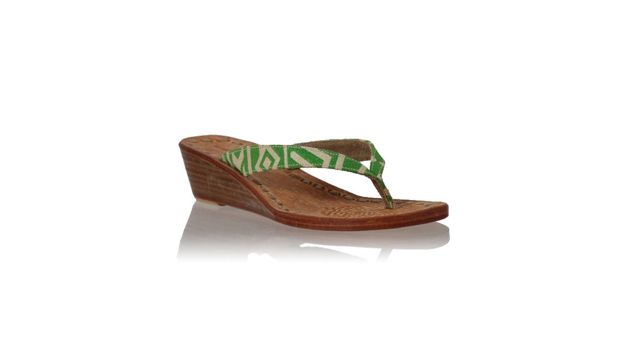 Leather-shoes-Luca 35mm Wedge - Green Canvas Print-sandals wedges-NILUH DJELANTIK-NILUH DJELANTIK