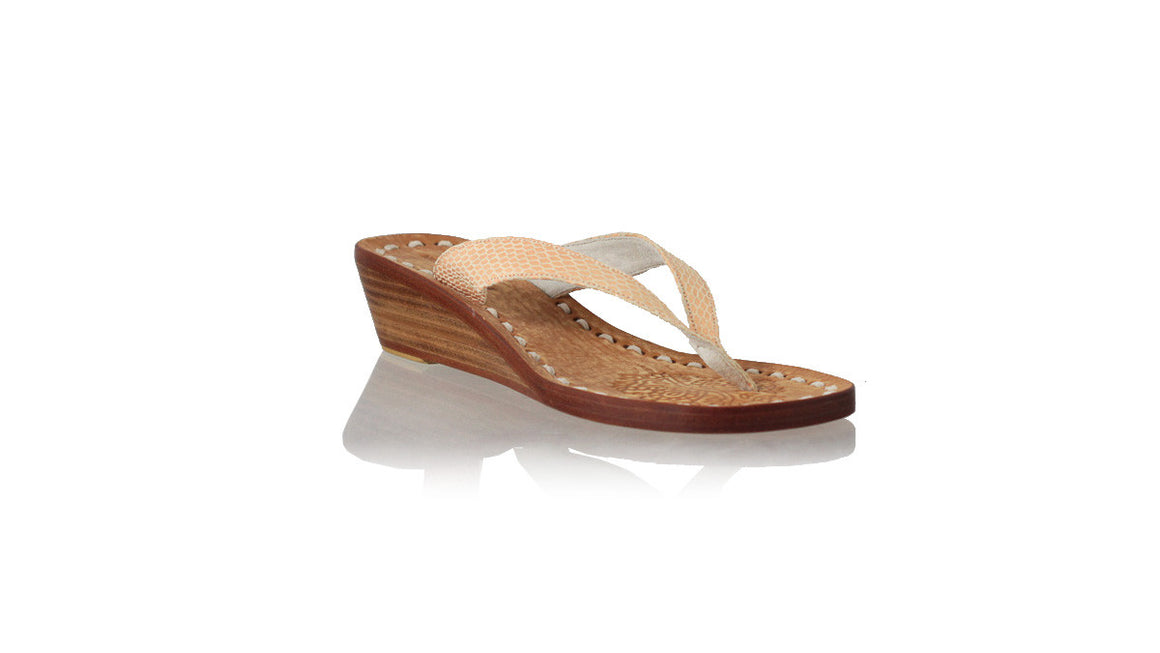 leather shoes Luca 35mm Wedges - Nude Snake Print, sandals wedges , NILUH DJELANTIK - 1