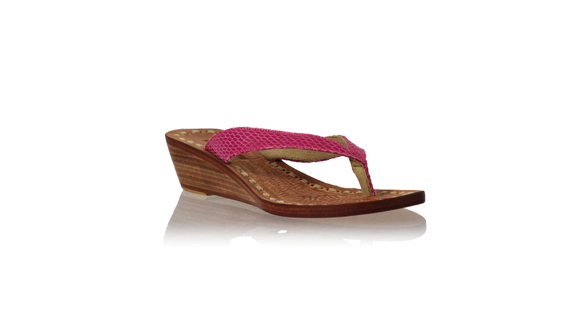 leather shoes Luca 35mm Wedges - Pink Snake Print, sandals wedges , NILUH DJELANTIK - 1