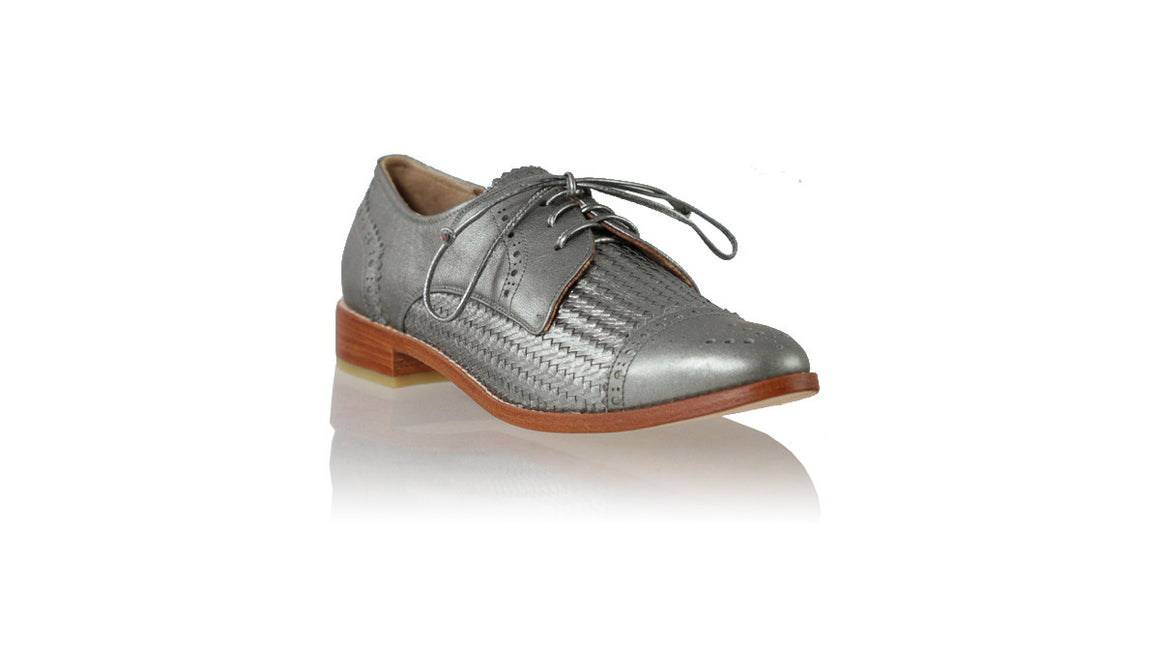 leather shoes Marco 25mm Flats - Grey Metallic, flats laceup , NILUH DJELANTIK - 1
