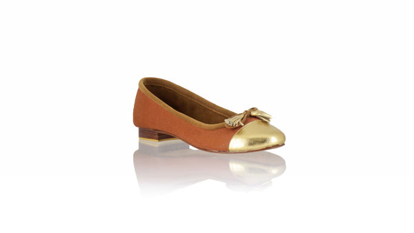 Leather-shoes-Marie 20mm Ballet - Burnt Orange Canvas & Gold Leather-flats ballet-NILUH DJELANTIK-NILUH DJELANTIK