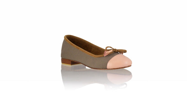 Leather-shoes-Marie 20mm Ballet - Cocoa Canvas & Soft Pink Leather-flats ballet-NILUH DJELANTIK-NILUH DJELANTIK