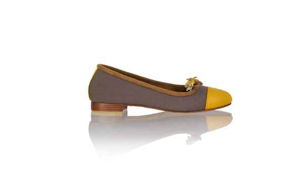 Leather-shoes-Marie 20mm Ballet - Cocoa Canvas & Yellow Leather-flats ballet-NILUH DJELANTIK-NILUH DJELANTIK