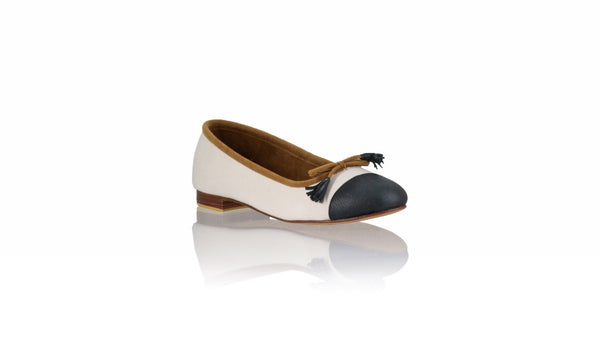 Leather-shoes-Marie 20mm Ballet - White Canvas & Black Leather-flats ballet-NILUH DJELANTIK-NILUH DJELANTIK