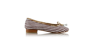 Leather-shoes-Marikha 20mm Ballet - Woven Red brown & White-flats ballet-NILUH DJELANTIK-NILUH DJELANTIK