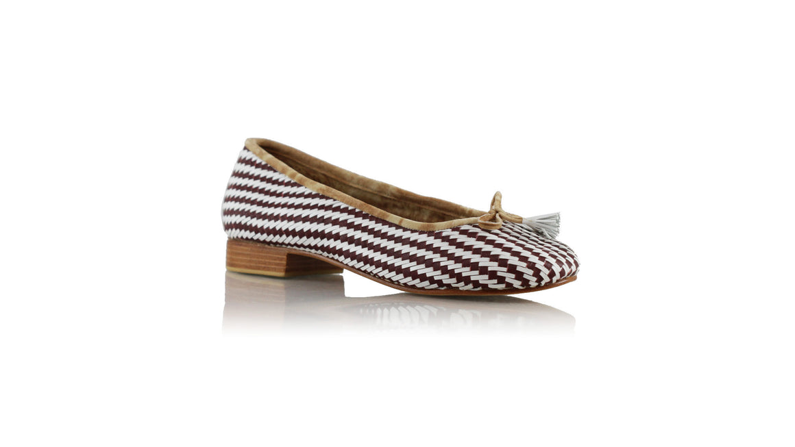 leather shoes Marikha 20mm Ballet - Woven Red brown & White, flats ballet , NILUH DJELANTIK - 1