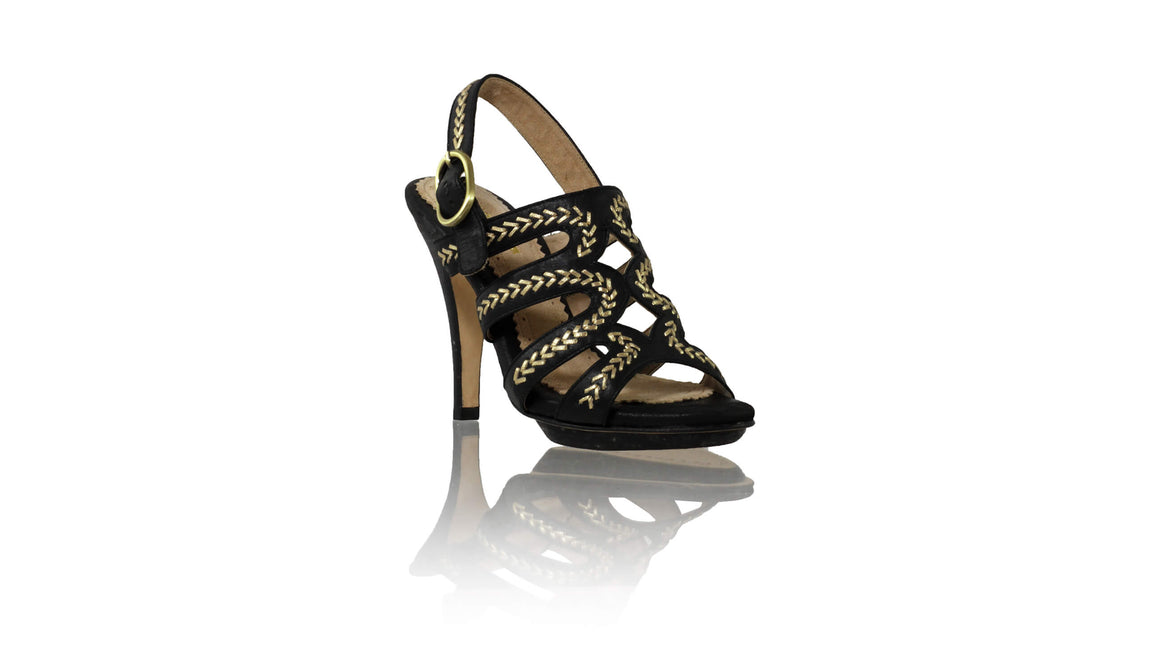 Leather-shoes-Maya PF 115mm SH - Black & Gold-sandals higheel-NILUH DJELANTIK-NILUH DJELANTIK