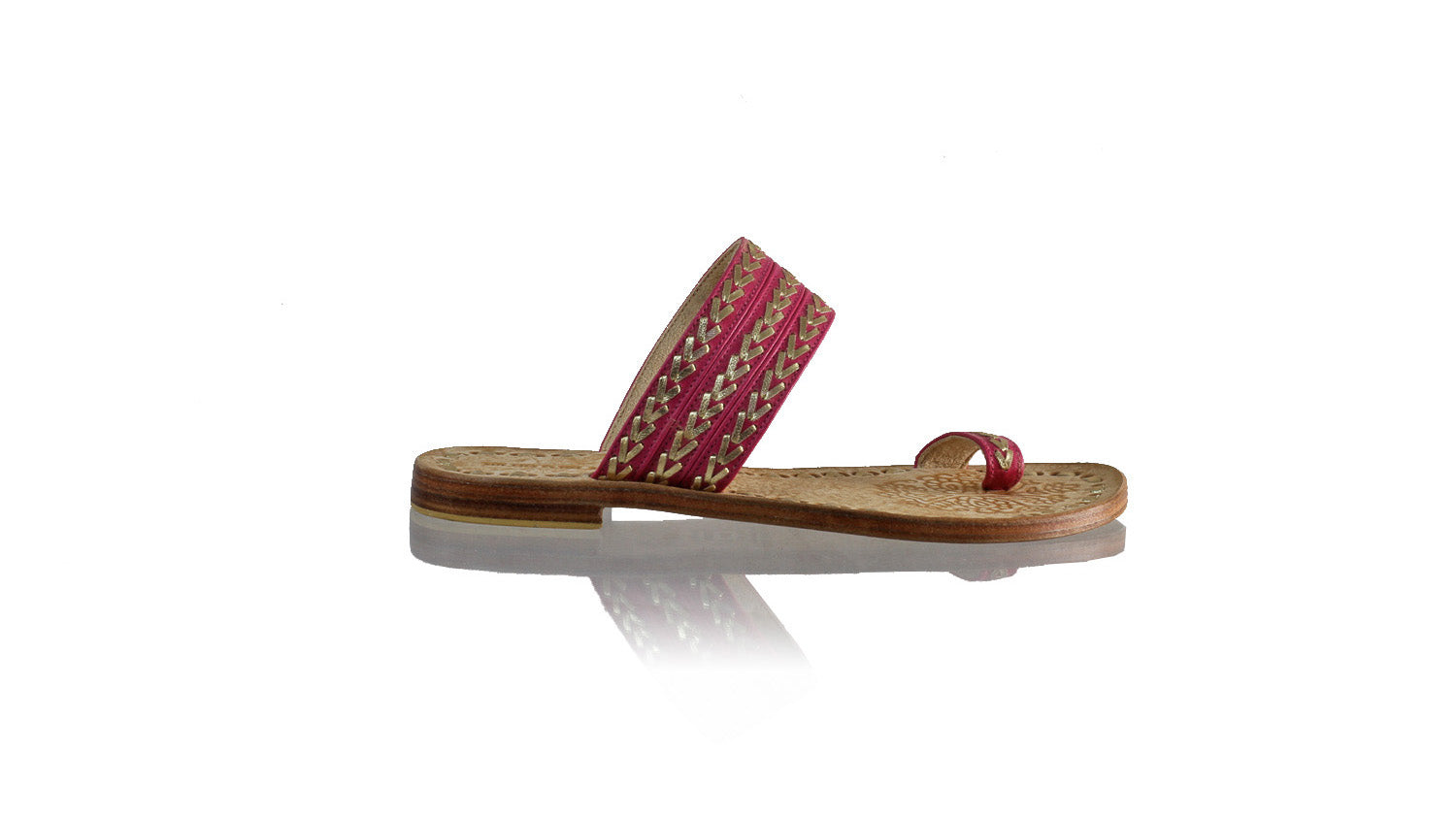 Leather-shoes-Merauke 20mm Flat - Fuschia & Gold-sandals flat-NILUH DJELANTIK-NILUH DJELANTIK