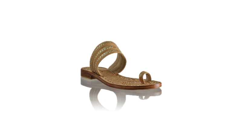 Leather-shoes-Merauke 20mm Flat - Nude & Gold-sandals flat-NILUH DJELANTIK-NILUH DJELANTIK