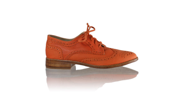 Leather-shoes-Mika 25mm Flat- Orange-flats laceup-NILUH DJELANTIK-NILUH DJELANTIK