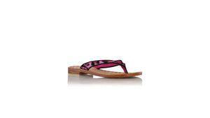 leather shoes Mikonos 20mm flats - Fuschia Pony Leopard, sandals flat , NILUH DJELANTIK - 2