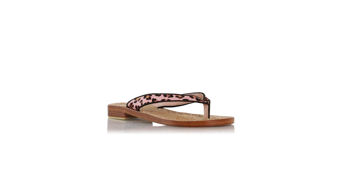 leather shoes Mikonos 20mm flats - Soft Pink Pony Leopard, sandals flat , NILUH DJELANTIK - 1