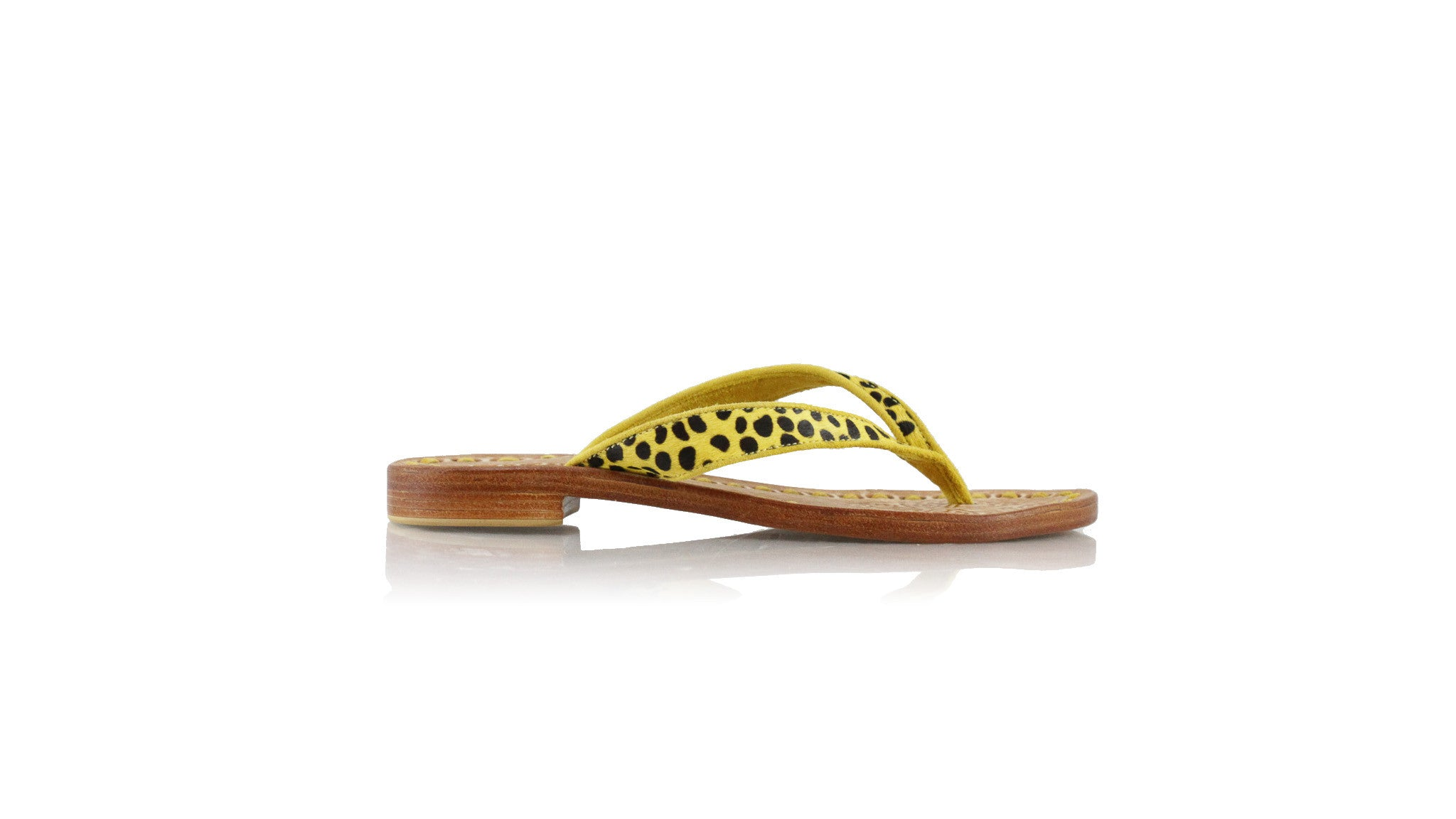 Leather-shoes-Mikonos 20mm Flat - Yellow Pony Leopard & Yellow Piping-sandals flat-NILUH DJELANTIK-NILUH DJELANTIK