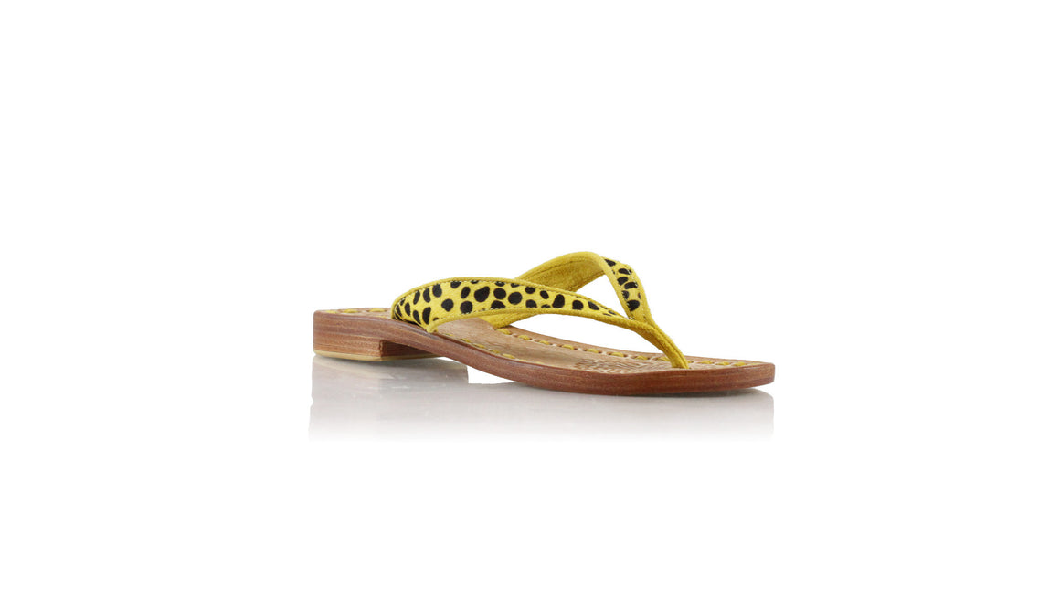 leather shoes Mikonos 20mm flats - Yellow Pony Leopard & Yellow Piping, sandals flat , NILUH DJELANTIK - 1