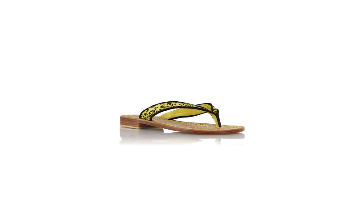 leather shoes Mikonos 20mm flats - Yellow Pony Leopard & Black piping, sandals flat , NILUH DJELANTIK - 1