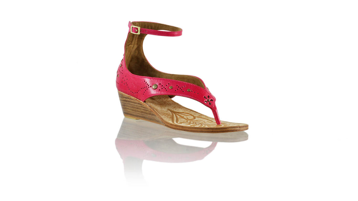 Leather-shoes-Miranda 35mm Wedges - Fuschia 2-sandals wedges-NILUH DJELANTIK-NILUH DJELANTIK