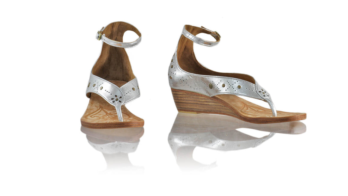 Leather-shoes-Miranda 35mm Wedges - Silver-sandals wedges-NILUH DJELANTIK-NILUH DJELANTIK