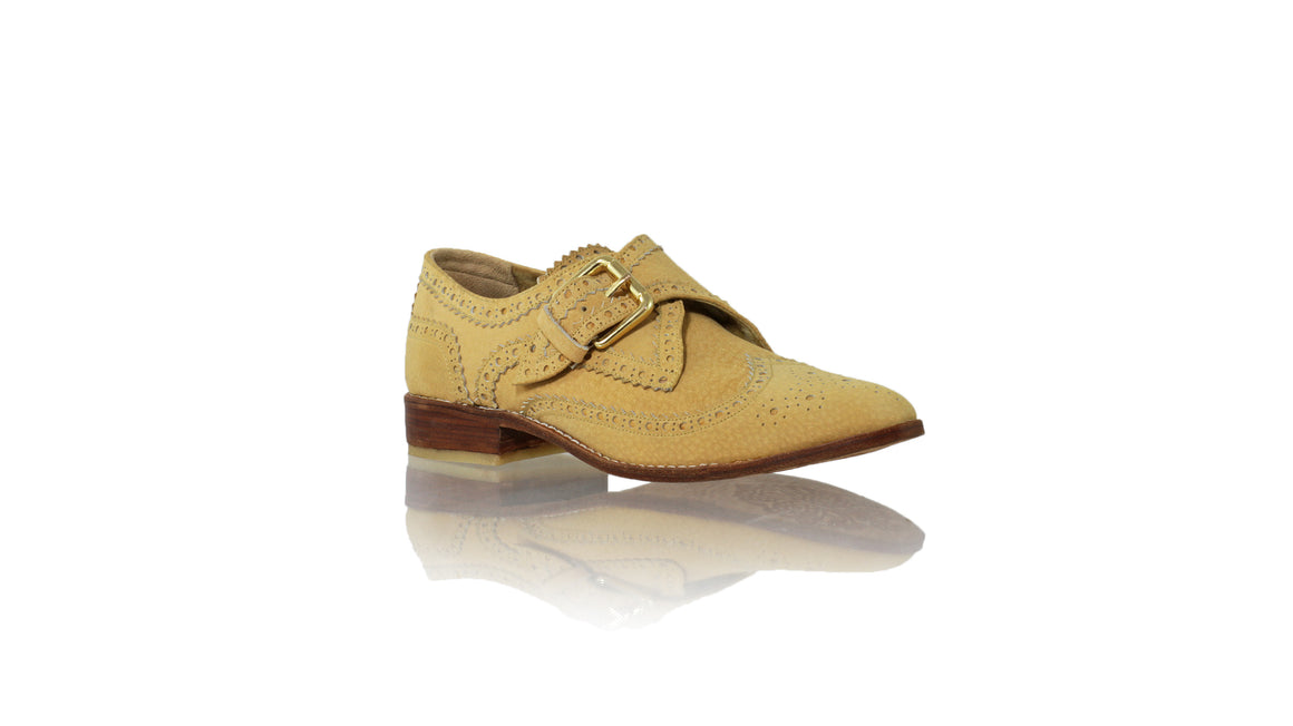 Leather-shoes-Monk Shoes Single Buckle 25mm Flat - Nude-flats laceup-NILUH DJELANTIK-NILUH DJELANTIK