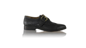 Leather-shoes-Monk Single Buckle 25mm Flats - All Black-Shoes-NILUH DJELANTIK-NILUH DJELANTIK