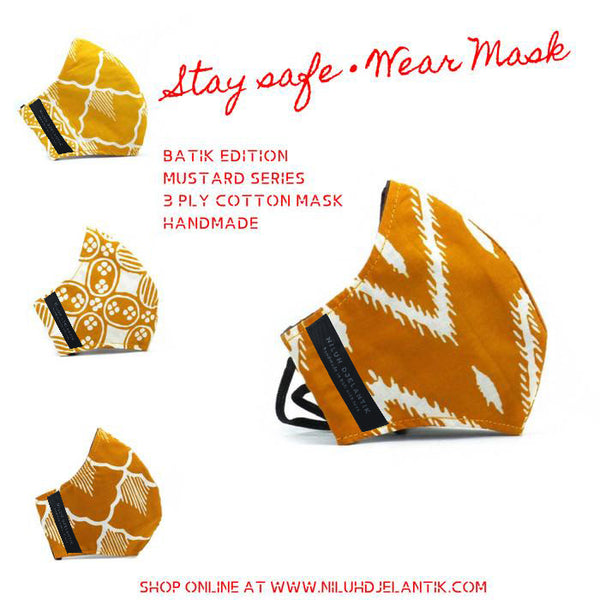 Leather-shoes-Batik 3 PLY cotton mask Set MUSTARD SERIES-Accessories-NILUH DJELANTIK-NILUH DJELANTIK