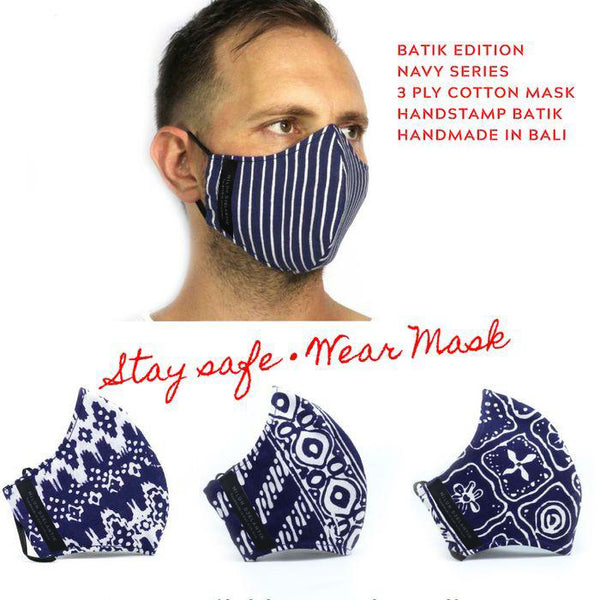 Leather-shoes-Batik 3 PLY cotton mask Set NAVY SERIES-Accessories-NILUH DJELANTIK-NILUH DJELANTIK