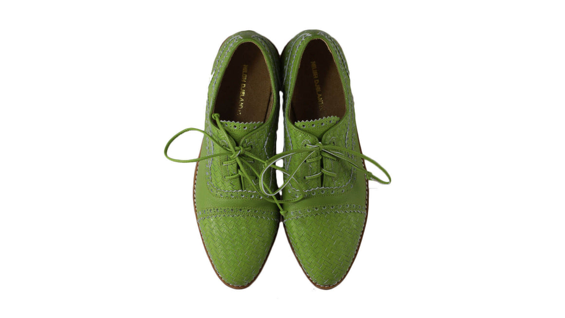Leather-shoes-Nicola 25mm Flats - Dark Lime Green-flats laceup-NILUH DJELANTIK-NILUH DJELANTIK