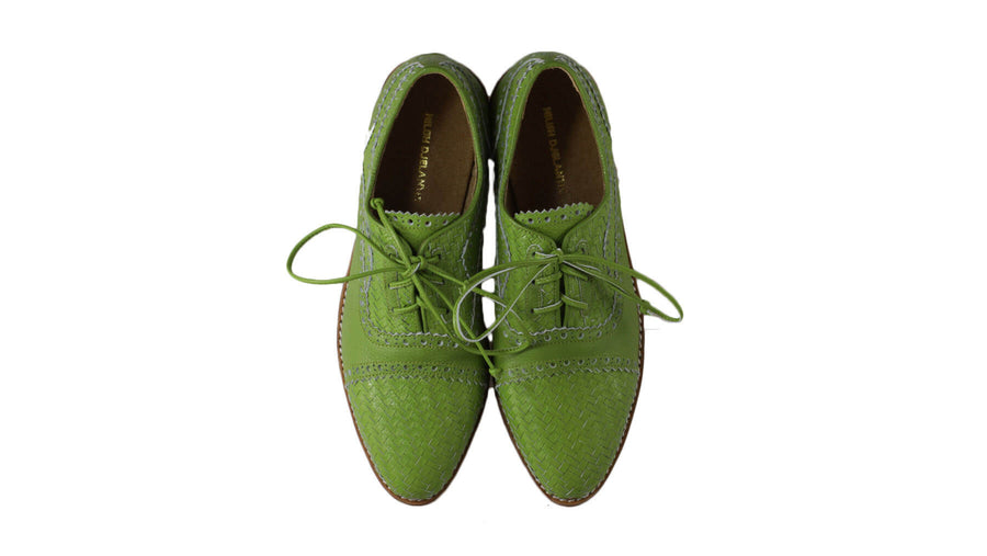 Leather-shoes-Nicola 25mm Flat - Dark Lime Green-flats laceup-NILUH DJELANTIK-NILUH DJELANTIK