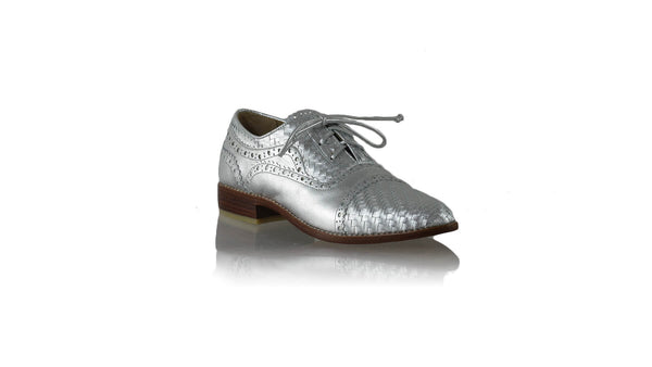 Leather-shoes-Nicola 25mm Flat - Silver-flats laceup-NILUH DJELANTIK-NILUH DJELANTIK