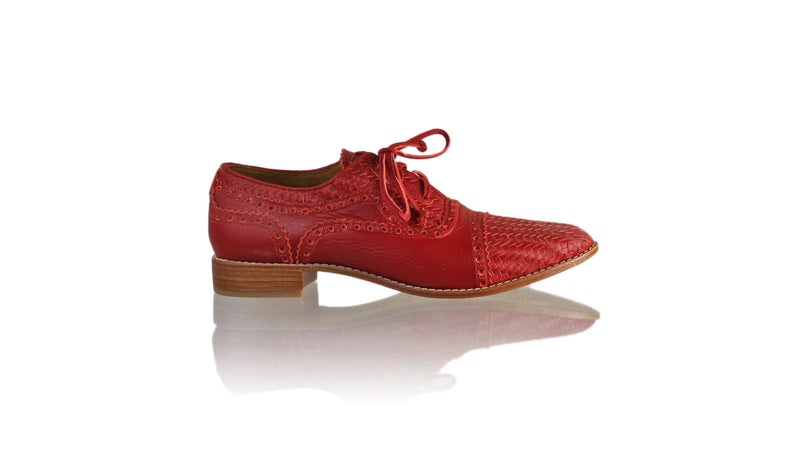 Leather-shoes-Nicola 25mm Flat - red-flats laceup-NILUH DJELANTIK-NILUH DJELANTIK