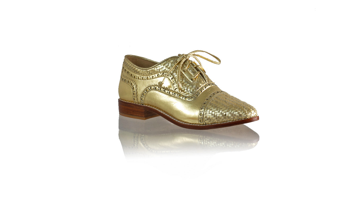 Leather-shoes-Nicola 25mm Flat - Gold-flats laceup-NILUH DJELANTIK-NILUH DJELANTIK