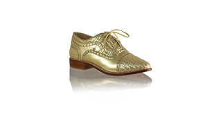 Leather-shoes-Nicola 25mm Flats - Gold-flats laceup-NILUH DJELANTIK-NILUH DJELANTIK