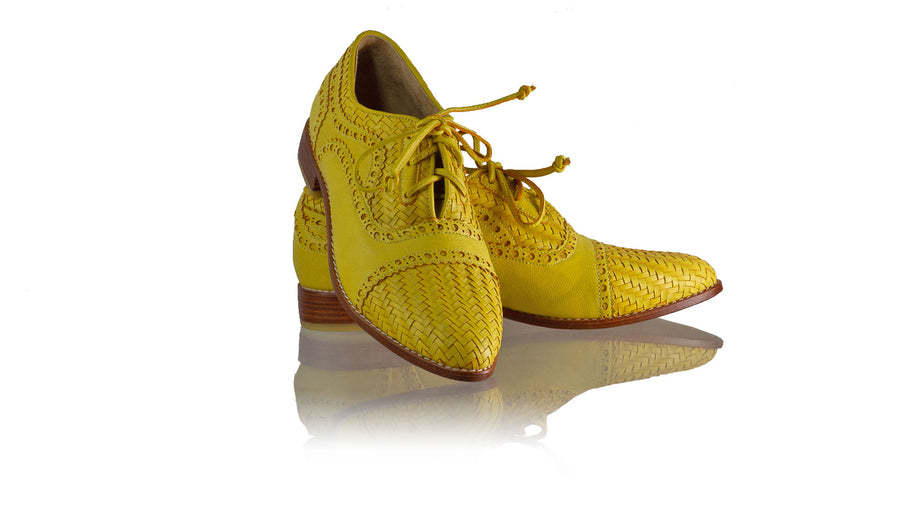 Leather-shoes-Nicola 25mm Flat - Yellow-flats laceup-NILUH DJELANTIK-NILUH DJELANTIK
