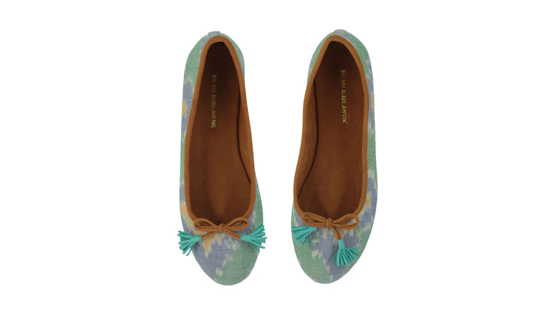 Leather-shoes-Noemi Ballet - 20mm - Mint Flower Endek-flats ballet-NILUH DJELANTIK-NILUH DJELANTIK