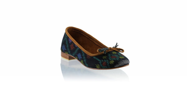 Leather-shoes-Noemi 20mm Ballet - Black & Green Endek-flats ballet-NILUH DJELANTIK-NILUH DJELANTIK