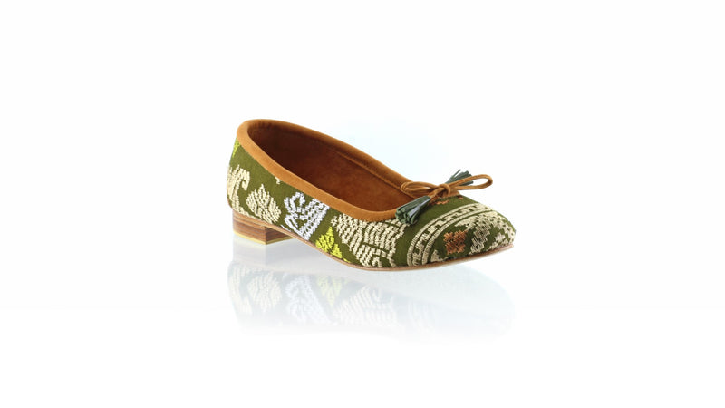 Leather-shoes-Noemi 20mm Ballet - Dark Olive Songket-flats ballet-NILUH DJELANTIK-NILUH DJELANTIK