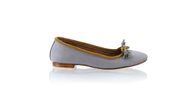 Leather-shoes-Noemi 20mm Ballet - Grey Linen New-flats ballet-NILUH DJELANTIK-NILUH DJELANTIK