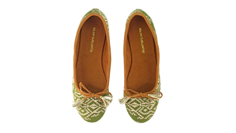 Leather-shoes-Noemi 20mm Ballet - Deep Green Songket-flats ballet-NILUH DJELANTIK-NILUH DJELANTIK