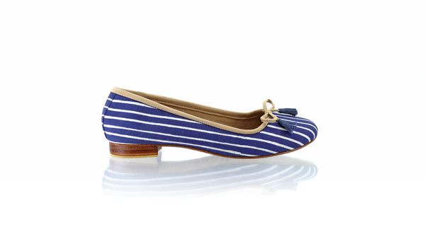 Leather-shoes-Noemi 20mm Ballet - Navy with White Lines Batik-flats ballet-NILUH DJELANTIK-NILUH DJELANTIK