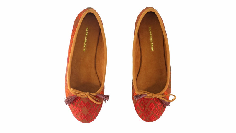 Leather-shoes-Noemi 20mm Ballet - Red & Brown Songket-flats ballet-NILUH DJELANTIK-NILUH DJELANTIK