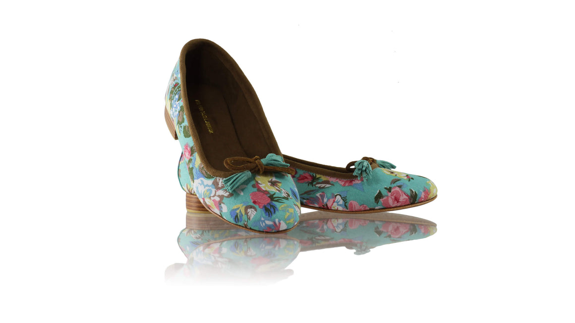Leather-shoes-Noemi 20mm Ballet - Aqua & Pink Twill Cotton-flats ballet-NILUH DJELANTIK-NILUH DJELANTIK