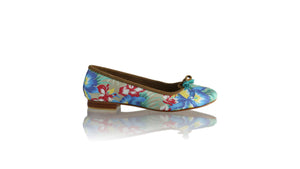 Leather-shoes-Noemi 20mm Ballet - Blue & Grey Twill Cotton-flats ballet-NILUH DJELANTIK-NILUH DJELANTIK